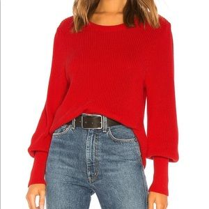 525 America Red Bishop Sleeve Knit Sweater